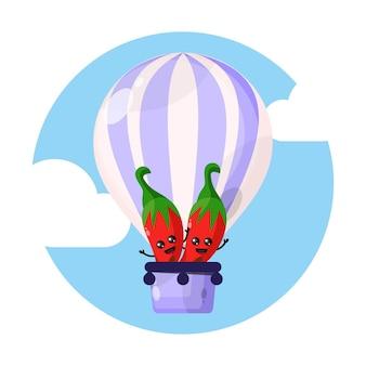 Personaggio mascotte chili in mongolfiera