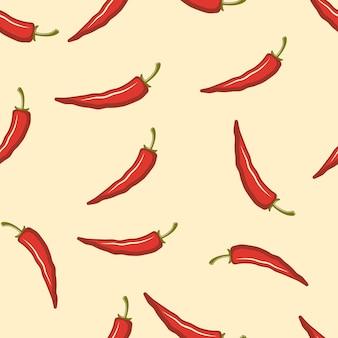 Modello senza cuciture di peperoncino colorato su sfondo chiaro per vestiti decorati o pacchetto e altre cose