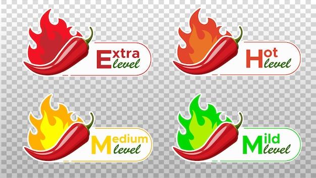 Chili pepper spice levels segno di peperoncino con fiamma di fuoco per il confezionamento di cibi piccanti