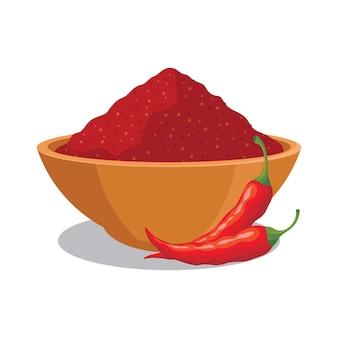 Polvere di peperoncino rosso nella ciotola con l'illustrazione rossa del peperoncino