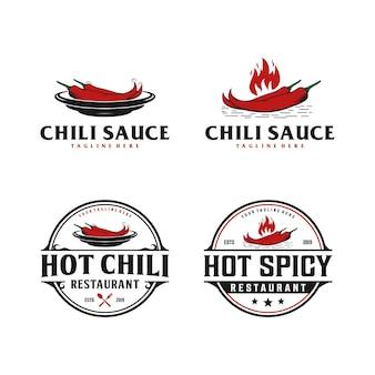 Chili, piccante, logo vintage distintivo di salsa. logo del ristorante cibo piccante Vettore Premium
