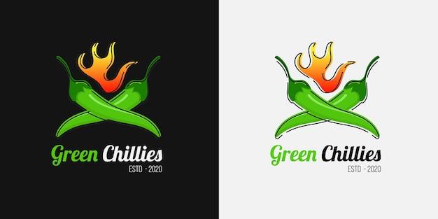 Logo di salsa piccante al peperoncino per attività di ristorazione piccante