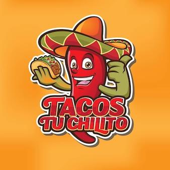 Il design del logo della mascotte di chili taco
