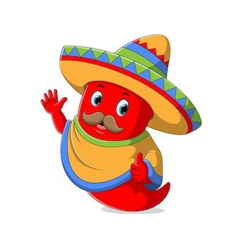 Peperoncino rosso che indossa il cappello del sombrero con l'illustrazione dei baffi