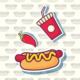 Peperoncino rosso e hot dog con l'icona della tazza della bibita sopra fondo bianco