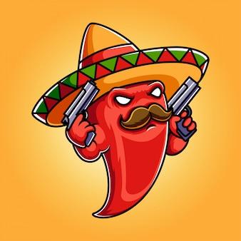 Illustrazione logo mascotte peperoncino