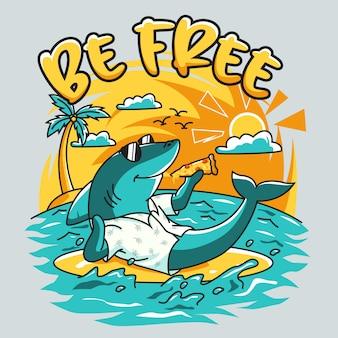 Carattere di squalo agghiacciante mangiare la pizza in spiaggia d'estate