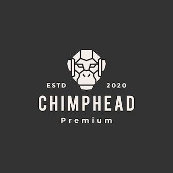 Illustrazione dell'icona di logo vintage testa di scimpanzé