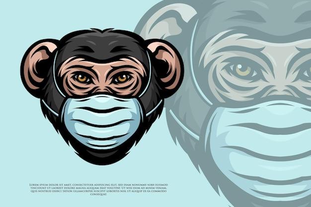 Uno scimpanzé indossa l'illustrazione della maschera
