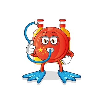 La mascotte dei subacquei con il distintivo della cina. cartone animato