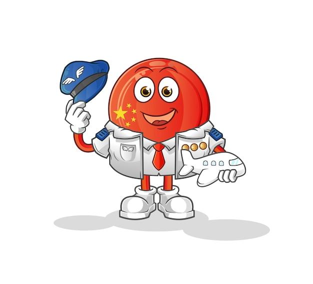 La mascotte del pilota con il distintivo della cina. cartone animato