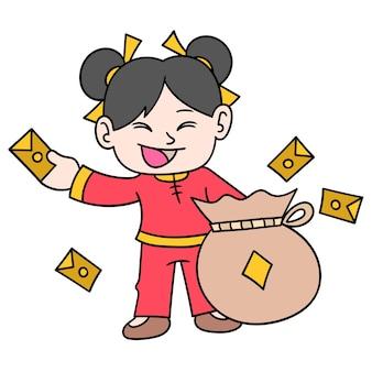 Ragazza cinese distribuisce buste regalo di denaro con grandi sacchi, doodle disegnare kawaii. arte dell'illustrazione