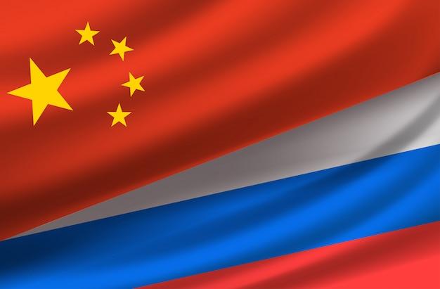 Cina e russia. sfondo vettoriale con bandiere