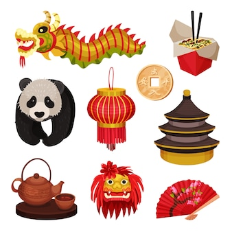 Set cina. concetto di simboli orientali. illustrazione.