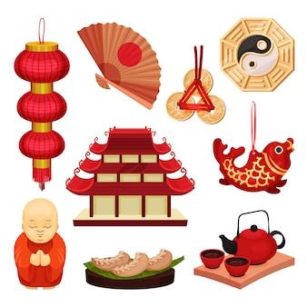 Set cina. cultura e tradizioni orientali. illustrazione.