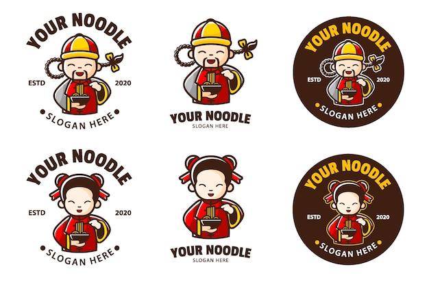 Mascotte cinese del fumetto del logo del negozio di noodle