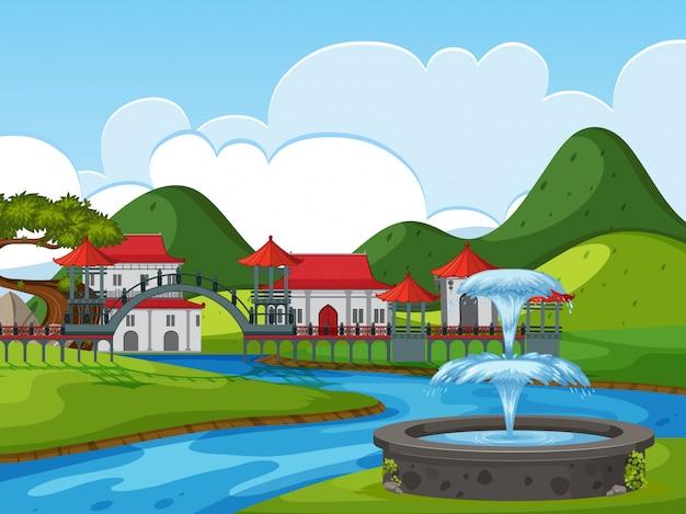 Castello cinese in natura Vettore Premium