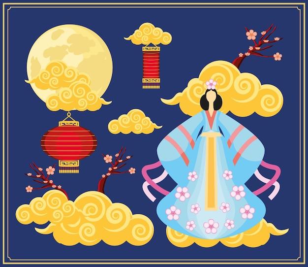 Nuvole cinesi donna tradizionale