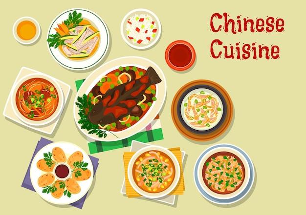 Piatti orientali della cucina cinese con riso appiccicoso