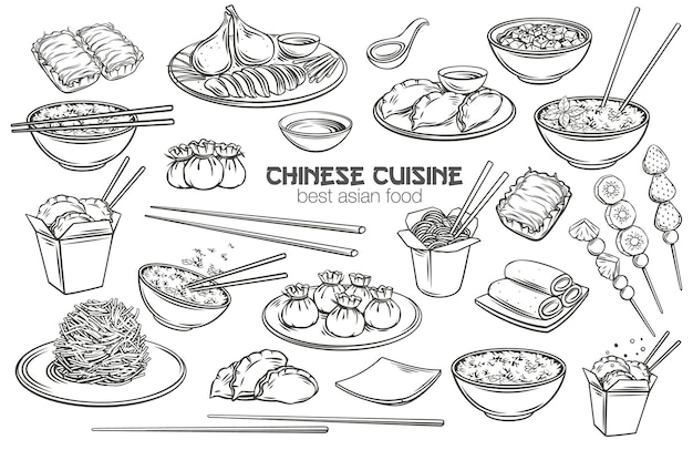 Set di contorno di cucina cinese. cibo asiatico inciso monocromatico