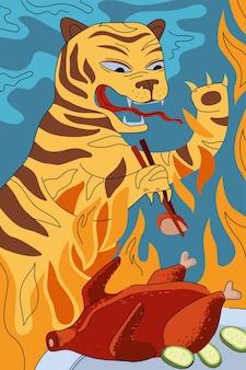 Concetto di poster di anatra alla pechinese della cucina cinese tigre di fuoco nazionale della cina che mangia con le bacchette arrostite