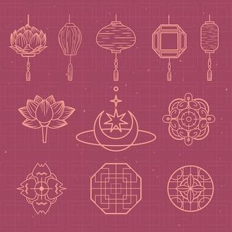 Gruppo di simboli degli ornamenti della cultura cinese