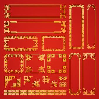 Cornici decorative cinesi. bordi orientali tradizionali asiatici decorazione banner cornici vettore raccolta. modello cinese asiatico, decorazione tradizionale orientale illustrazione