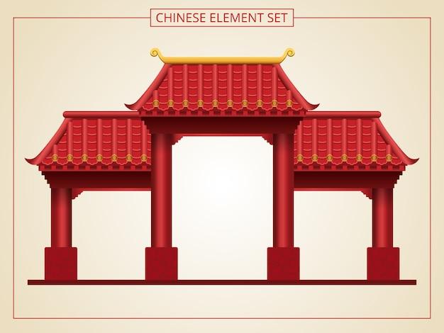 Porta cinese ed entrata con tetto rosso in stile papercut.