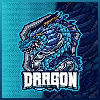 Modello di illustrazioni di disegno del logo esport logo mascotte drago cinese, logo bestia
