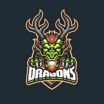 Logo della mascotte del drago cinese per esport e squadra sportiva