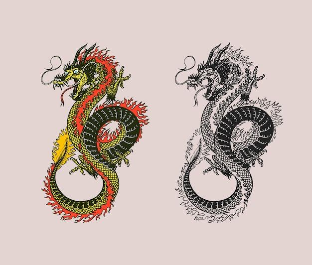 Drago cinese. animale mitologico o rettile tradizionale asiatico.