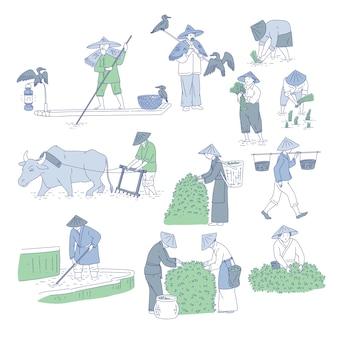 Agricoltori e pescatori cinesi in costumi tradizionali. line art set persone piantano riso, coltivano tè e vanno a pescare. simboli della cultura agricola asiatica.