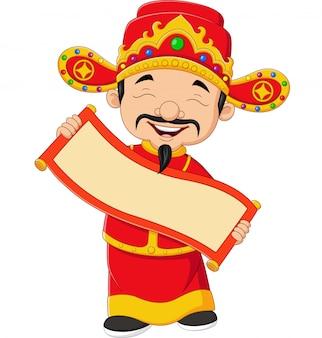 Padre cinese che tiene la bandiera in bianco del rotolo