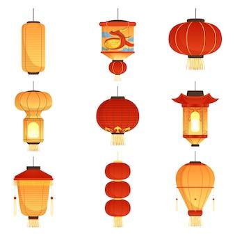 Lanterne cinesi di festival. simboli asiatici del fumetto delle lanterne della carta di nozze di chinatown della via della cina isolati