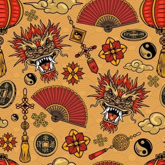 Modello senza cuciture di elementi festivi cinesi con draghi, nuvole e simboli
