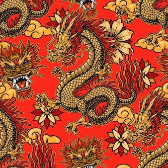 Modello senza cuciture di elementi festivi cinesi con draghi, fiori e nuvole su sfondo rosso