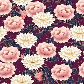 Fiore cinese e spirale cloud seamless pattern sfondo.
