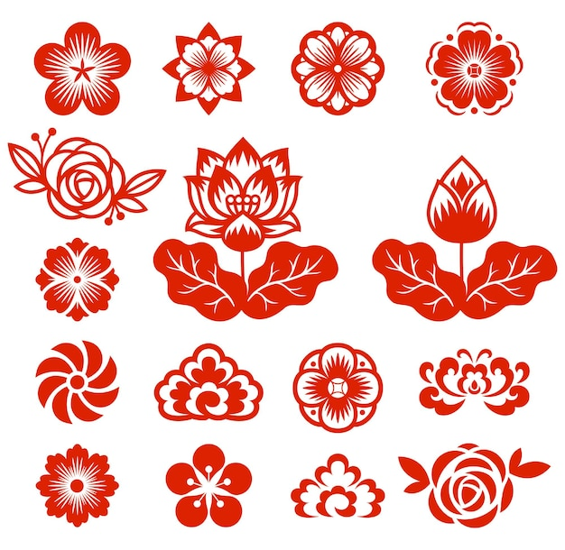 Fiori cinesi carta tagliata illustrazioni di colore rosso.