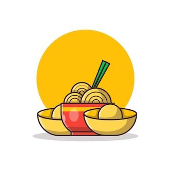 Illustrazione del fumetto di cibo cinese. anno nuovo cinese concetto isolato. stile cartone animato piatto