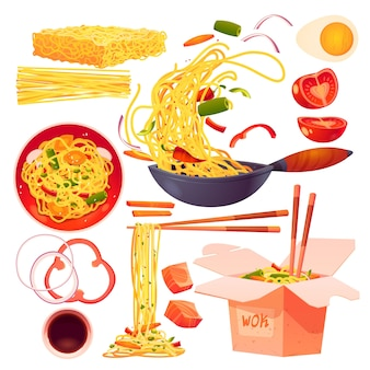 Collezione di elementi alimentari cinesi chinese