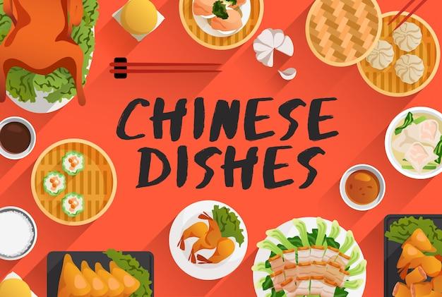 Cibo cinese, illustrazione di cibo in vista dall'alto. illustrazione vettoriale