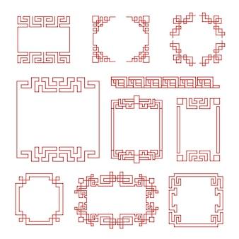 Cornici cinesi. bordi tradizionali decorativi tradizionali asiatici, stile retrò linea rossa orientale per cornici