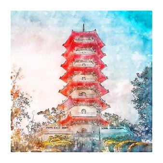 Illustrazione disegnata a mano di schizzo dell'acquerello di giardini cinesi di singapore