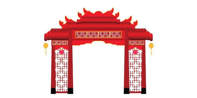 Architettura cinese del cancello isolata su priorità bassa bianca. illustrazione.
