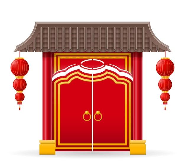 Cancello cinese per entrare in un tempio o pagoda con colonne e un'illustrazione vettoriale del tetto isolata sullo sfondo