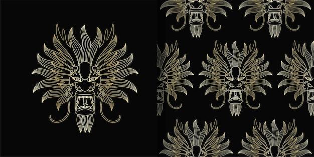 Stampa cinese della testa del drago d'oro e motivo senza cuciture