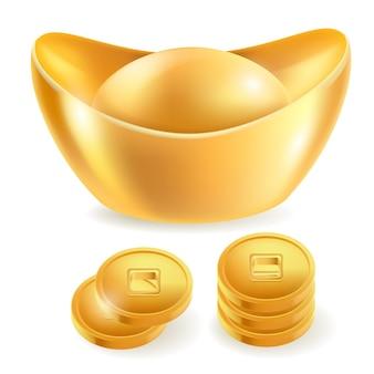 Elementi isolati lingotto d'oro cinese. Vettore Premium
