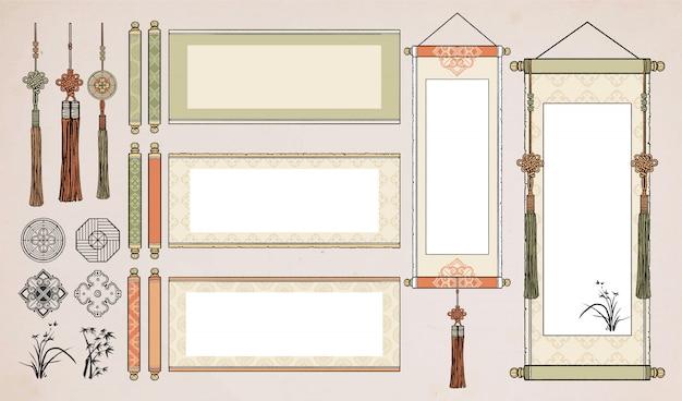 Scorrimento appeso cinese. rotolo asiatico d'annata orientale. carta pergamena coreana e giapponese.