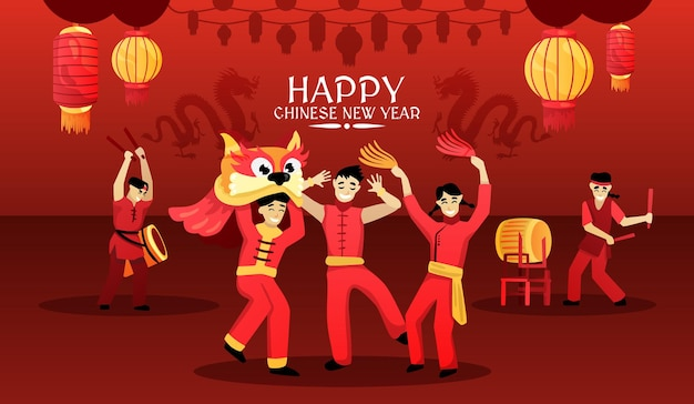 Carta di felice anno nuovo cinese con performance di danza del leone di lanterne rosse celebrazione festiva tradizionale