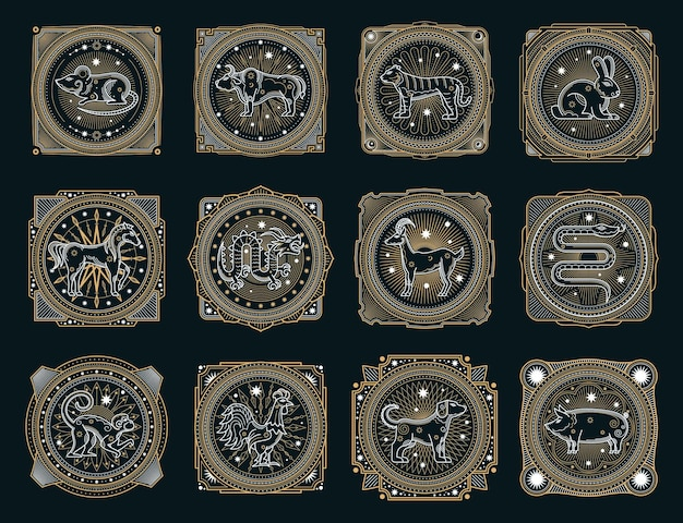 Simboli occulti dell'oroscopo cinese, animali dello zodiaco
